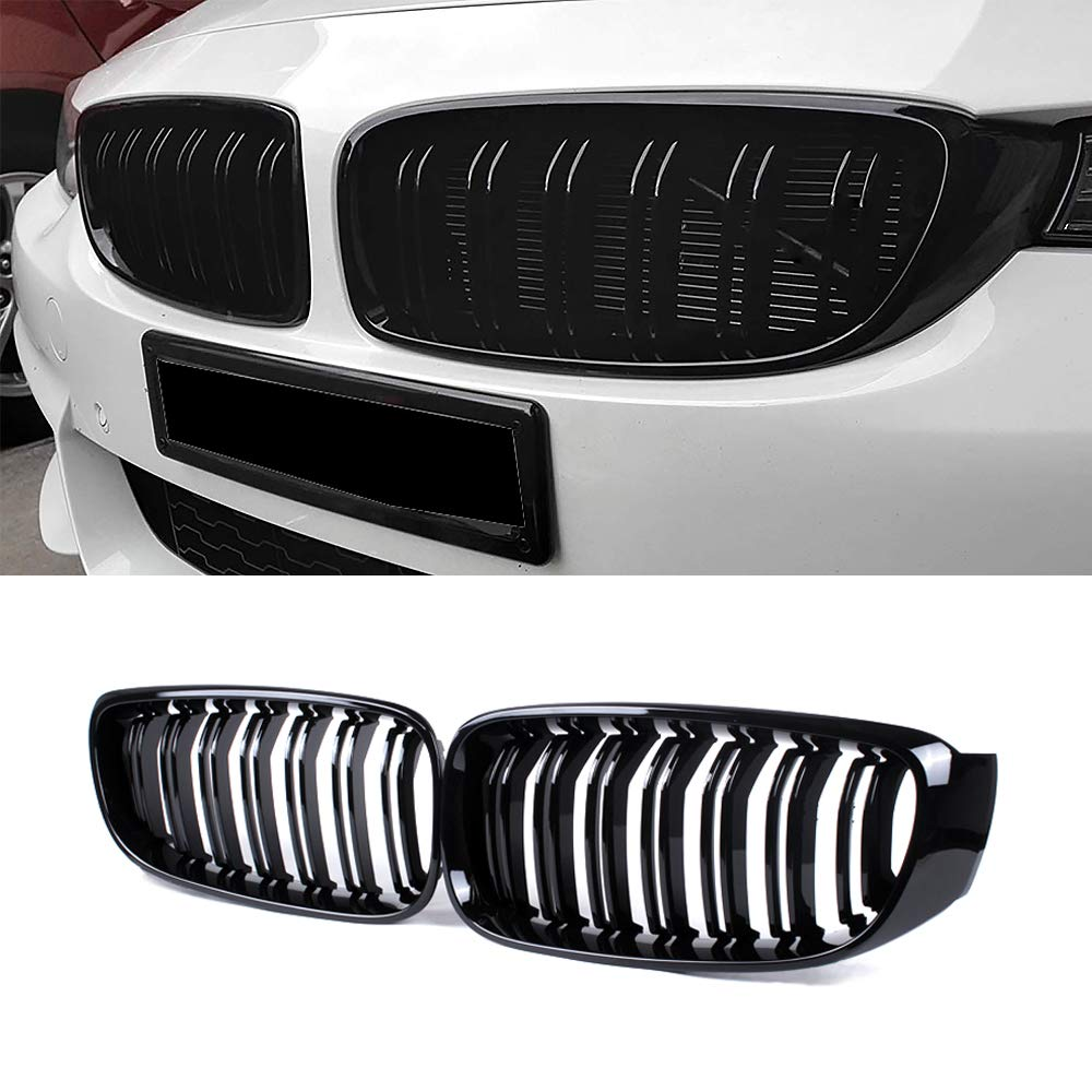 Gloss Black ABS Double Slats, 2-pc Set SNA Front Kidney Grill Compatible for BMW 3 Series F34 GT