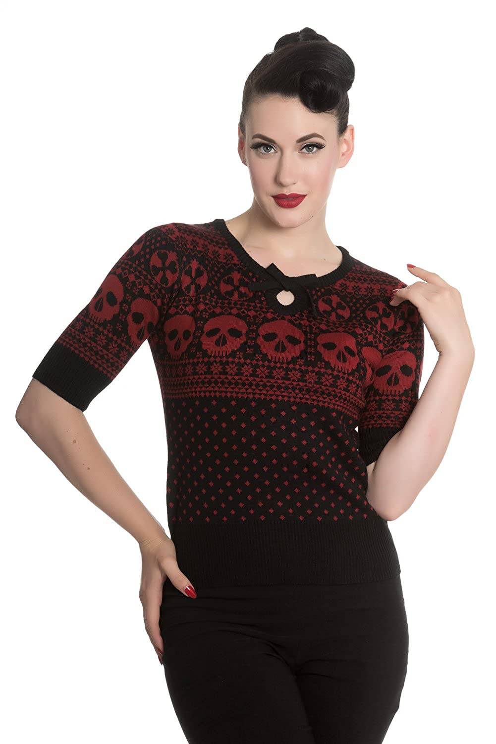 Vintage Retro Halloween Themed Clothing Hell Bunny Yule Skull Knitted Christmas Jumper Sweater Top $45.56 AT vintagedancer.com