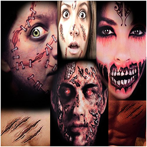 Zombie Face Tattoo (Scar Temporary Tattoos, Halloween Tattoos, Fake Scars Tattoos for Halloween, Halloween Wound, Fake Injury Blood, Fake Cuts Tattoos, Perfect for Halloween makeup and Cosplay(5 Pack))