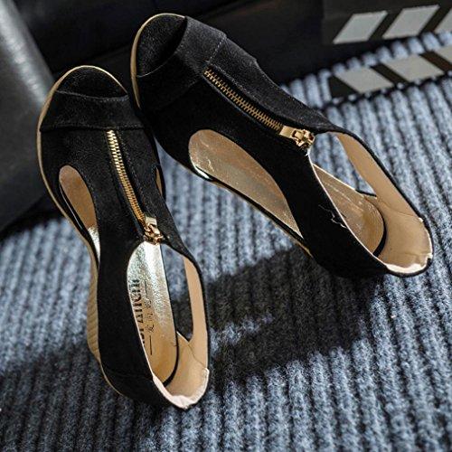 bescita Frauen Schuhe Sommer Sandalen Casual Peep Toe Platform Wedges Sandalen Schuhe (36, Schwarz)