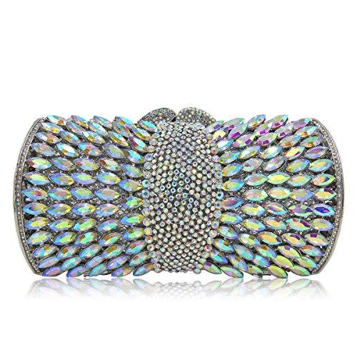 Flada de las mujeres de metal hueco de diamantes de imitación embragues monederos para damas bolsas de hombro de cristal rojo AB plata
