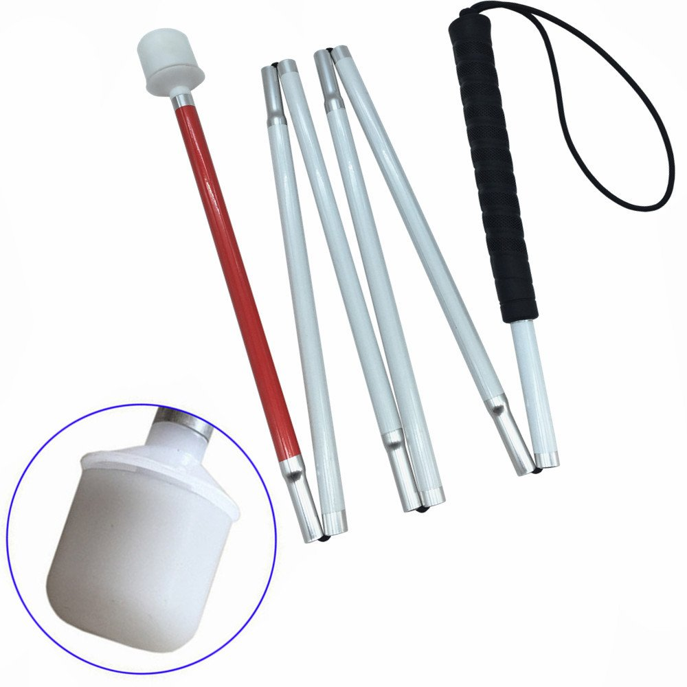 VISIONU Aluminio Baston Blanco para Ciegos y Baja Vision Plegable, 6 Secciones VSONE