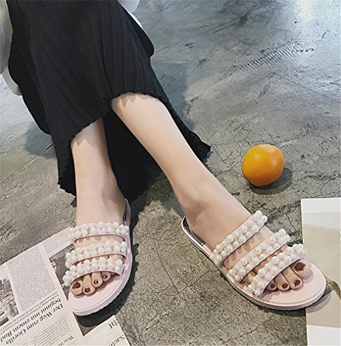 Beach Decoration Pink Pearl Shoes Slippers Square FORTUN Sandals Flat Outdoor Women's FwFPCq
