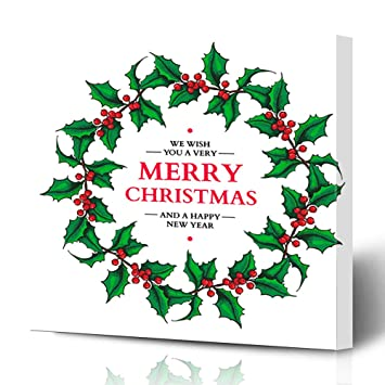 Christmas Wreath Drawing.Amazon Com Ahawoso Canvas Prints Wall Art 16x16 Inches
