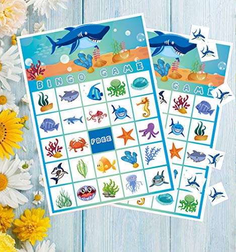 CocoHut Shark Bingo Games for Kids - Under The Sea Birthday Party Supplies Decorations Favors(23 Players)