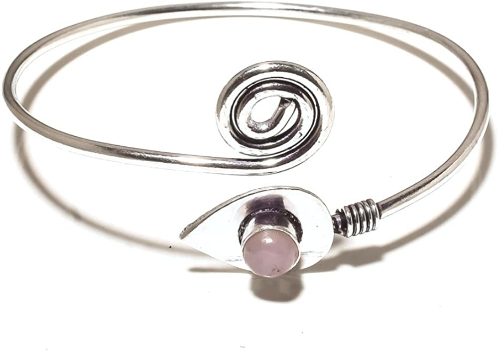Gorgeous Pink Rose Quartz Sterling Silver Overlay 13 Grams Bangle//Bracelet Free Size