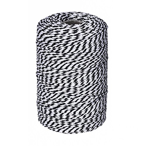 (656 Feet Black and White Twine,Cotton Baker's Twine Cotton Cord Crafts Gift Twine String for Holiday)