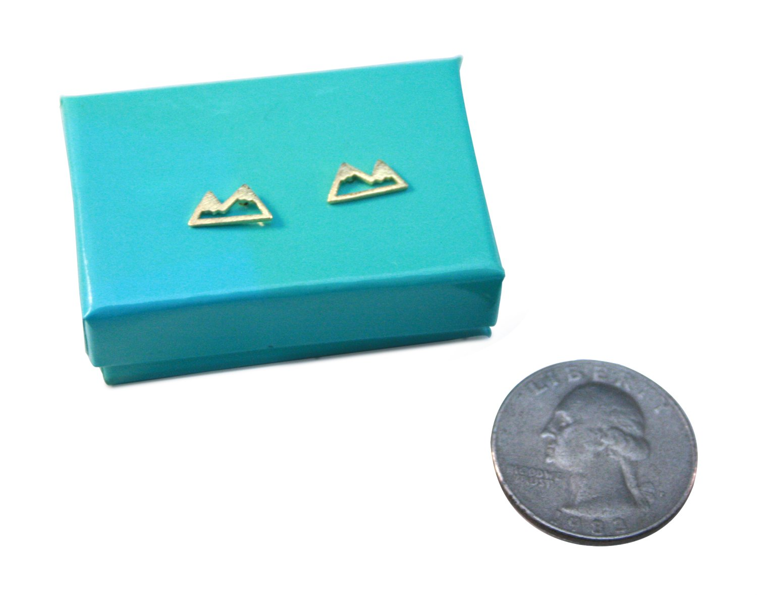 Mountain Stud Earrings for Women Mountain Top Earrings Nature Jewelry - Multiple Colors (Gold)