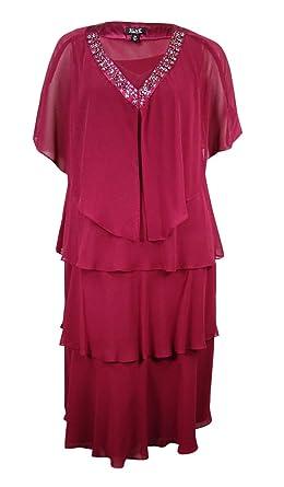 e95e9ad40c9 SL Fashions Womens Plus 2PC Embellished Dress With Jacket Purple 14W ...