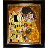 overstockArt Gustav Klimt The Kiss 20-Inch by 24-Inch Framed Oil Painting on Canvas
