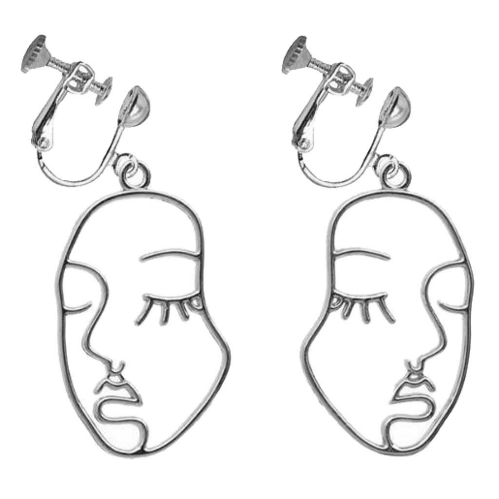 Fashion Clip on Abstract Face Earrings Beauty Emoji Dangle Screw Back Silver Plated for Girls Women