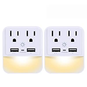 USB Wall Charger, Outlet Adapter, POWRUI 2-Pack Surge Protector(1080 Joules) Dual USB Charger Ports(2.4A Total), Dual Outlet Extender Dusk-to-Dawn Sensor Night Light, White, ETL Certified