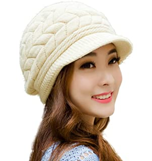 8849b7923f95e1 HINDAWI Winter Hats for Women Girls Warm Wool Knit Snow Ski Skull Cap with  Visor