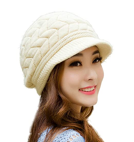HINDAWI Winter Hats for Women Girls Warm Wool Knit Snow Ski Skull Cap with  Visor c95aa6037da