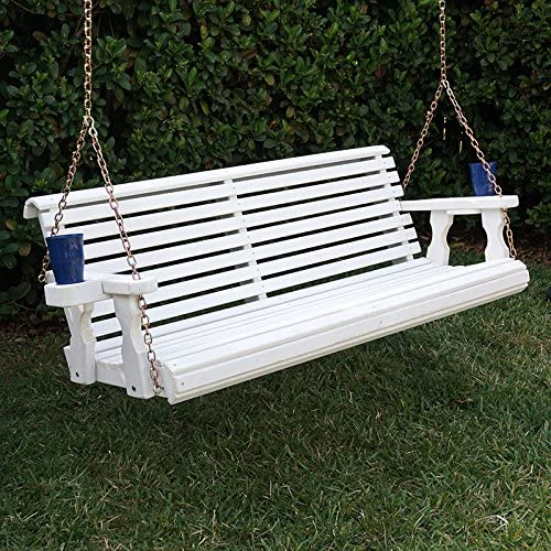 Amish Heavy Duty 800 Lb Roll Back Treated Porch Swing with Hanging Chains and Cupholders 5 Foot, Semi-Solid White Stain