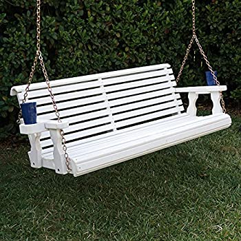 Amish Heavy Duty 800 Lb Roll Back Treated Porch Swing With Hanging Chains  And Cupholders (