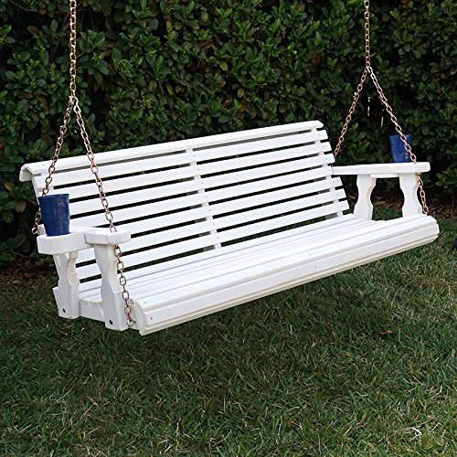 Amish Heavy Duty 800 Lb Roll Back Treated Porch Swing with Hanging Chains and Cupholders (5 Foot, Semi-Solid White Stain)