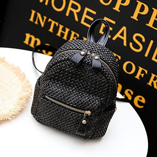 Beach Weave New Bag Bag Backpack 2018 Fashion Shoulder Hollow Straw Women Redshooeyy Mini Black fxvw76Hqq