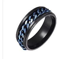 Timetries01 Stainless Steel Rings for Men Chain Rings Biker,Spinner Ring Stainless Steel Fidget Ring Anxiety Ring for…