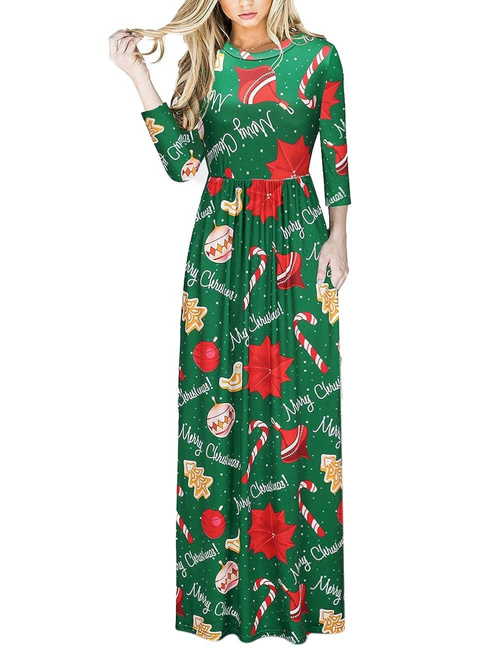 FUVOYA Vestido de Navidad para Mujer Fiesta de Navidad con Estampado de Navidad Vestido Largo y Largo de Navidad Feo