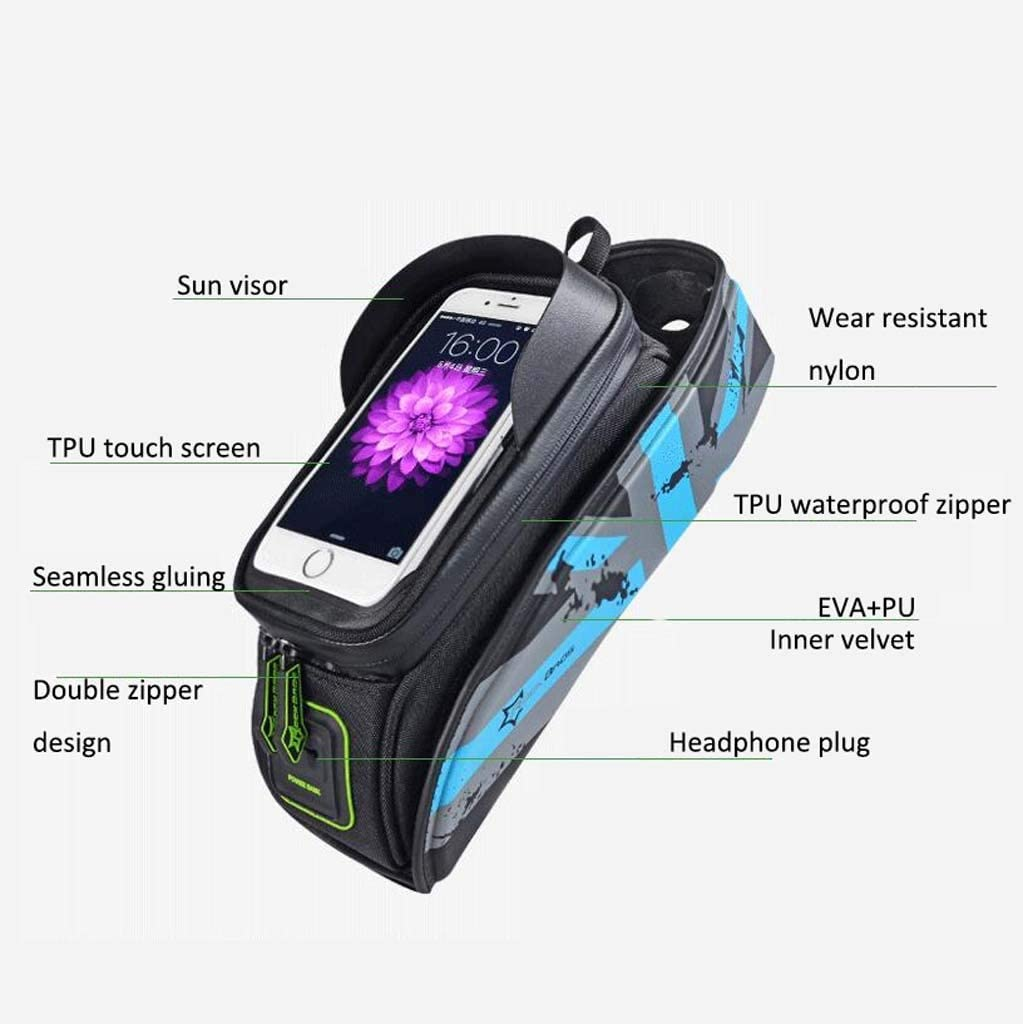 Cloud Bike Frame Bag Bicycle Phone Mount Cycling Waterproof Front Top Tube Pouch Frame Phone Holder Bag Pannier Color : Green, Size : 5.8 inches