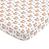 NoJo Aztec Mix & Match 100% Cotton Teal Floral Fox Fitted Crib Sheet, Pink, Orange, Aqua, White