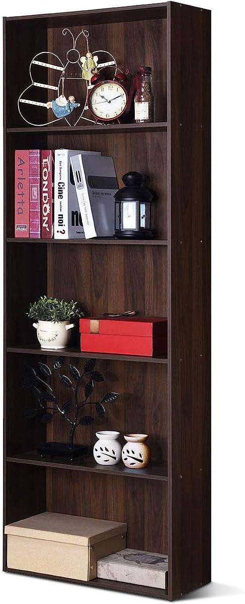 Tangkula Bookcase 5-Shelf Multi-Functional Modern Wood Storage Display Open Bookshelf for Home Office Walnut