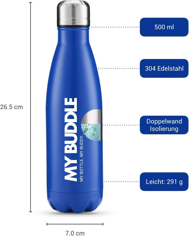 My Buddle Botella Agua Acero Inoxidable 500ml I Botella de Ague termica I Botella Agua Deporte I Stainless Steel Water Bottle I Botella Agua Reutilizable