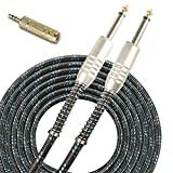 SUNYIN Music Instrument Cables,Electric & Bass Guitar Cord&FREE Stereo Audio Adapter,20 Feet Straight 1/4 Black