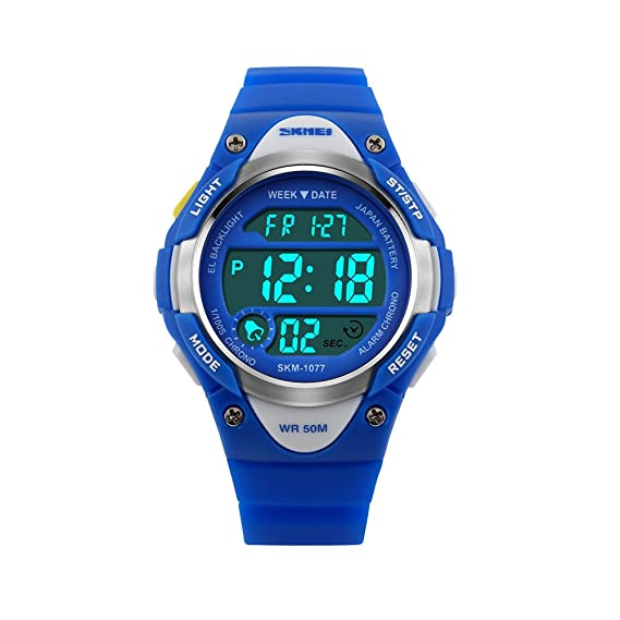 Niños Reloj deportivo para Chicos Impermeable Reloj digital para Chicas LED Luminoso Niño Reloj de Pulsera con Alarma Cronógrafo Calendario,Azul: Amazon.es: ...