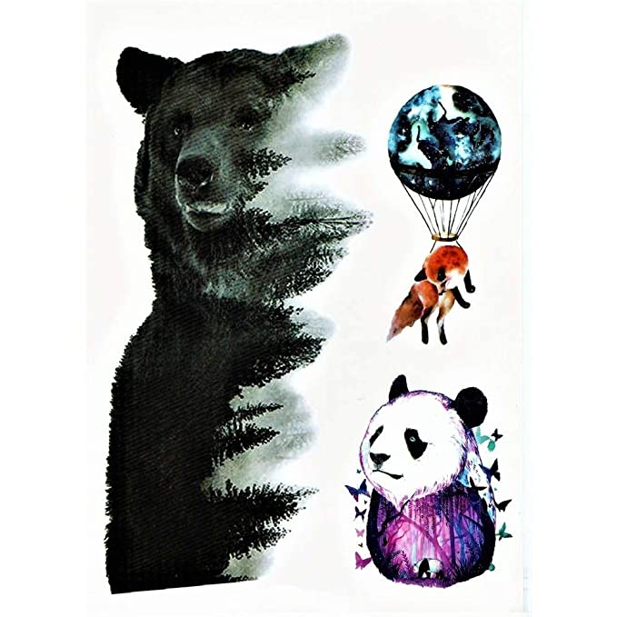 Justfox – Tatuaje temporal, diseño de oso panda con zorro, tatuaje ...