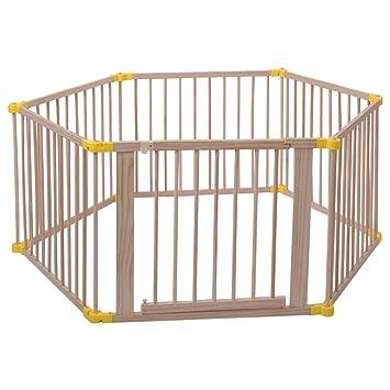 Amazon Com Costzon Baby Playpen Wood Frame Foldable Playard Safety