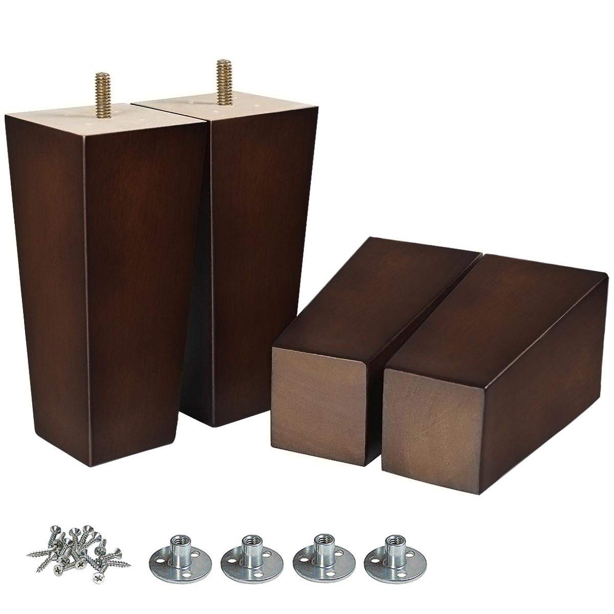 AORYVIC 6 inch Sofa Legs Wood Furniture Legs Pack of 4 Pyramid Couch Legs Mid-Century Modern Brown Replacement Legs for Chair Recliner by AORYVIC