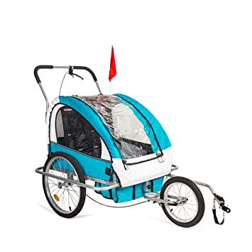 2HPImport Remolque para Bicicleta Tipo Carro con Barra de Paseo para Niños de 2 Plazas
