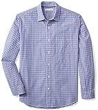 Amazon Essentials Men's Regular-Fit Long-Sleeve Casual Poplin Shirt, Blue/Purple Gingham, Large