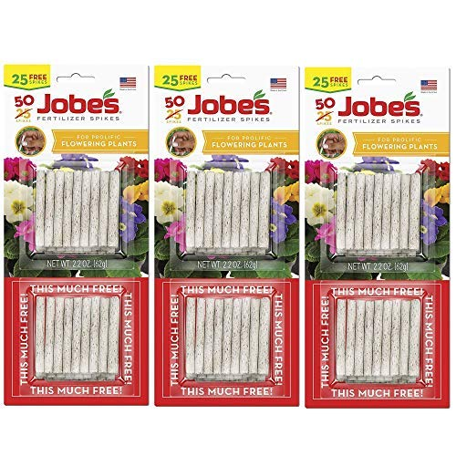 (Jobe's 05231T Flowering Plant Fertilizer Spikes 10-10-4, 3 Pack Multicolor)