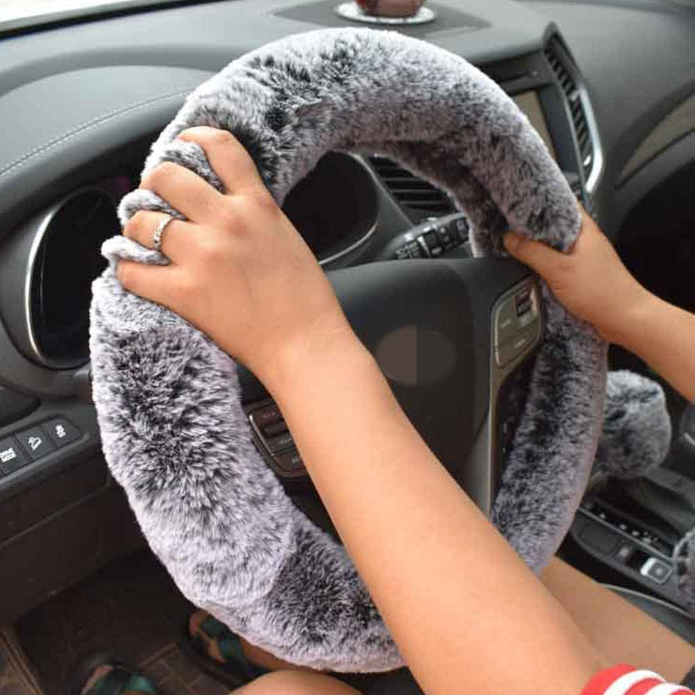 DKIIGAME Steering Wheel Cover for Women,Cute Fluffy Universal 15 Inch Auto Steering Wheel Cover,Fuzzy Car Steering Wheel Protector Black with White
