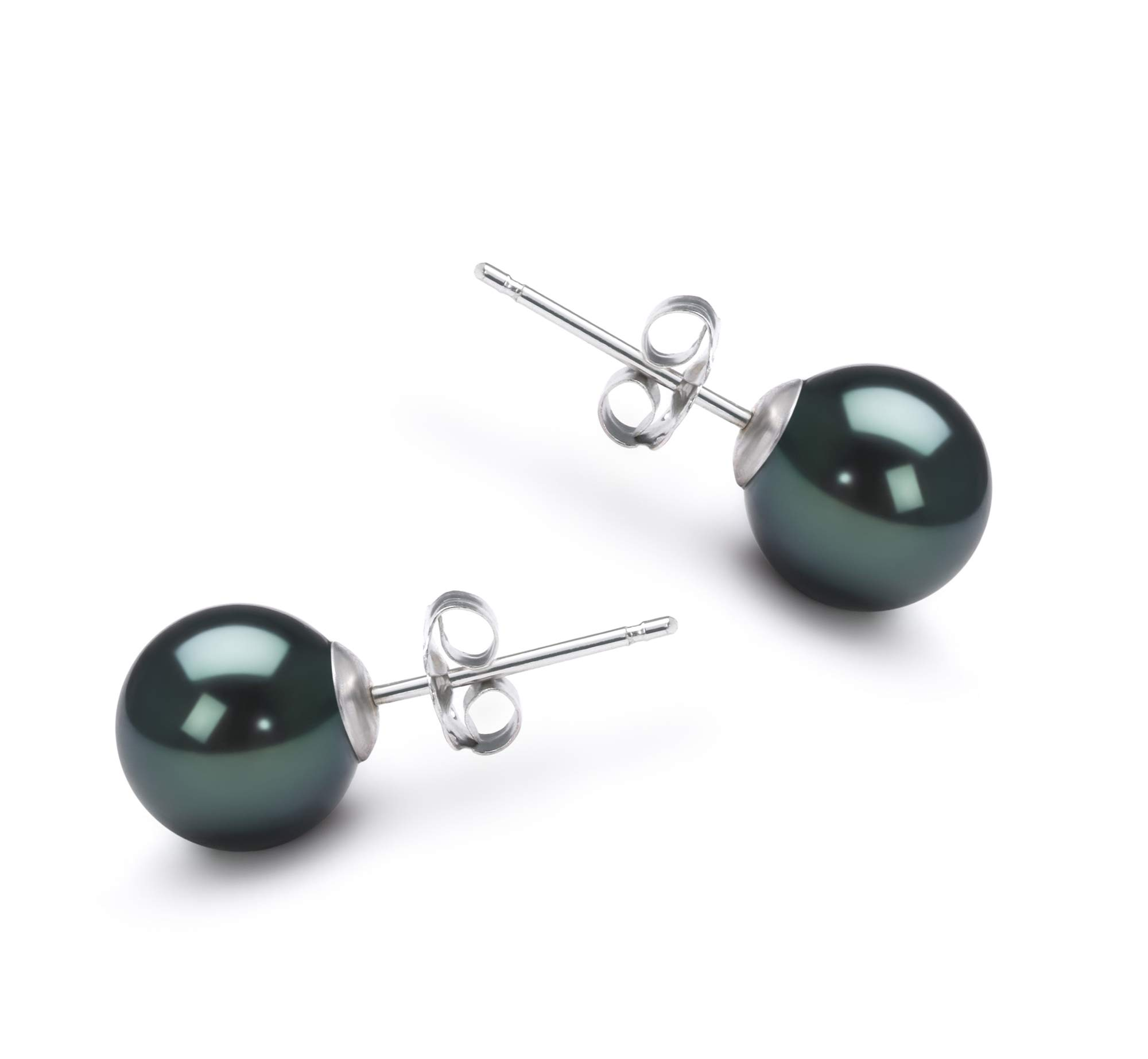 Black 7-8mm AA Quality Japanese Akoya 14K White Gold Cultured Pearl Earring Pair For Women