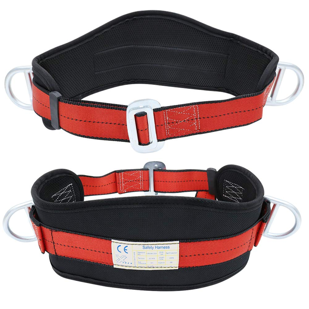 X XBEN Portable Safety Belt Fall Arrest Kit, With Hip Pad and 2 D Rings, Personal Protective Equipment Safety Climbing Harness