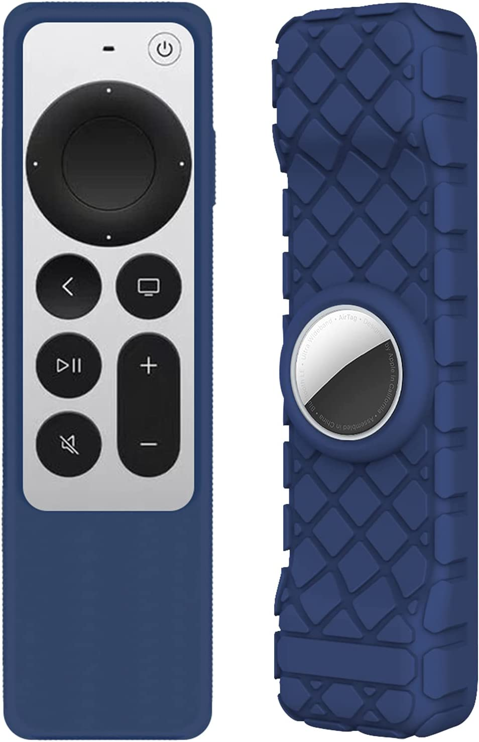 Seltureone Compatible for 2021 Apple TV 4K Siri Remote Cover, 2 in 1 Silicone Protective Case Sleeve with Holder Cover for AirTags and TV HD Siri Remote (2nd Generation), Shock Absorption, Blue