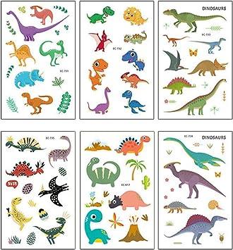 Toyvian Dibujos Animados Para Ninos Dinosaurios A Prueba De Agua Tatuajes Temporales Etiqueta Ninos Arte Corporal Animales Pegatinas 6 Hojas Amazon Es Juguetes Y Juegos Vector y raster del lindo dinosaurio anquilosaurio dibujos animados de acción conjunto. toyvian dibujos animados para ninos