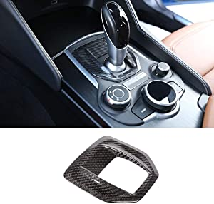 LLKUANG Real Carbon Fiber for Alfa Romeo Giulia Car Center Console Gear Shift Panel Frame Cover Trim Sticker for Alfa Romeo Stelvio 2017 2018