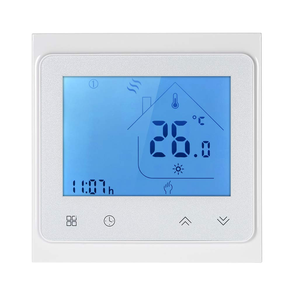 Decdeal Dry Contact Gas Boiler Heating Thermostat with Touchscreen LCD Display Weekly Programmable Energy Saving Temperature Controller