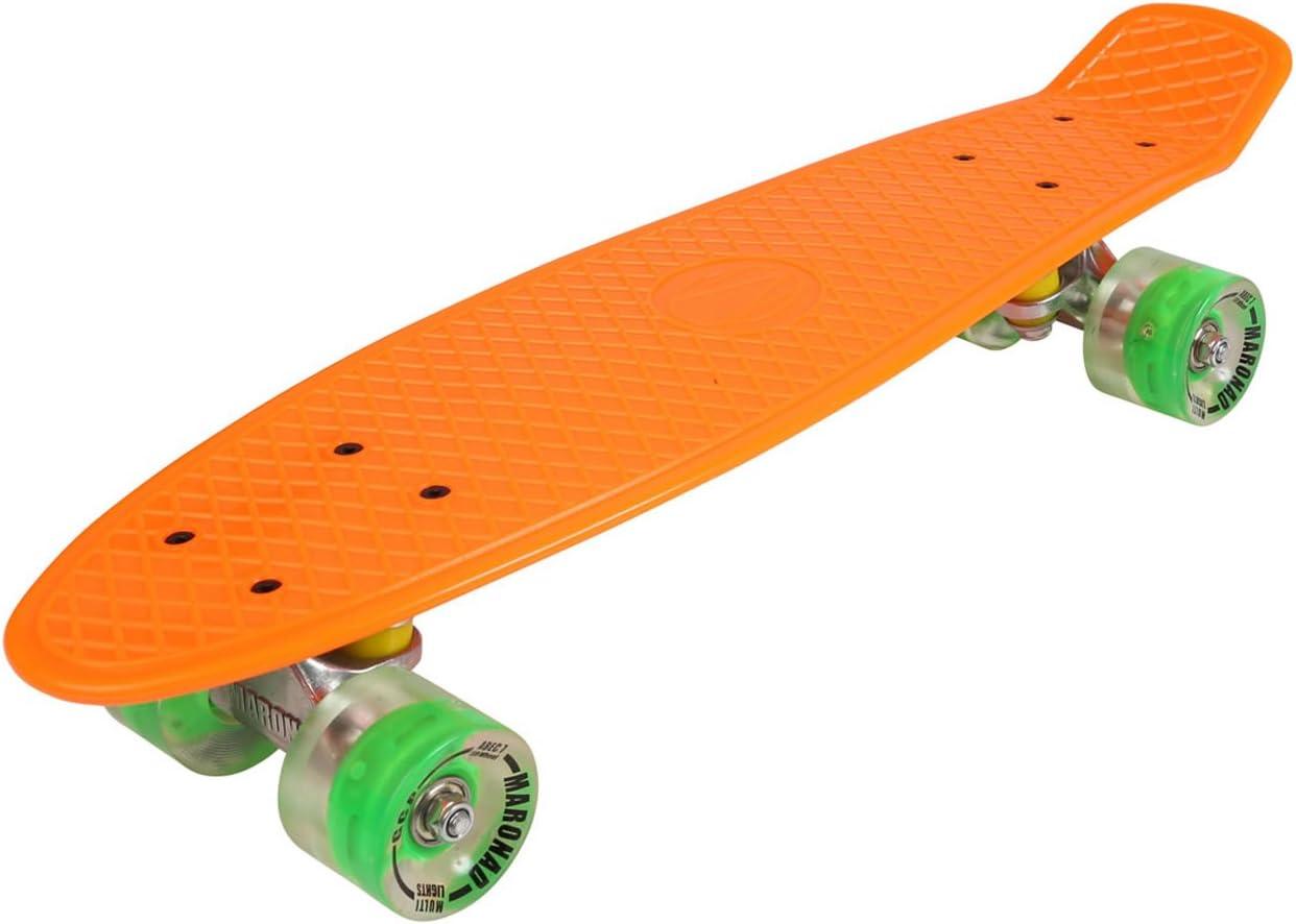 MARONAD 57cm Mini Cruiser board Retro Skateboard mit LED Leuchtrollen und Aluminium Trucks ABEC-7 Classics kaufen