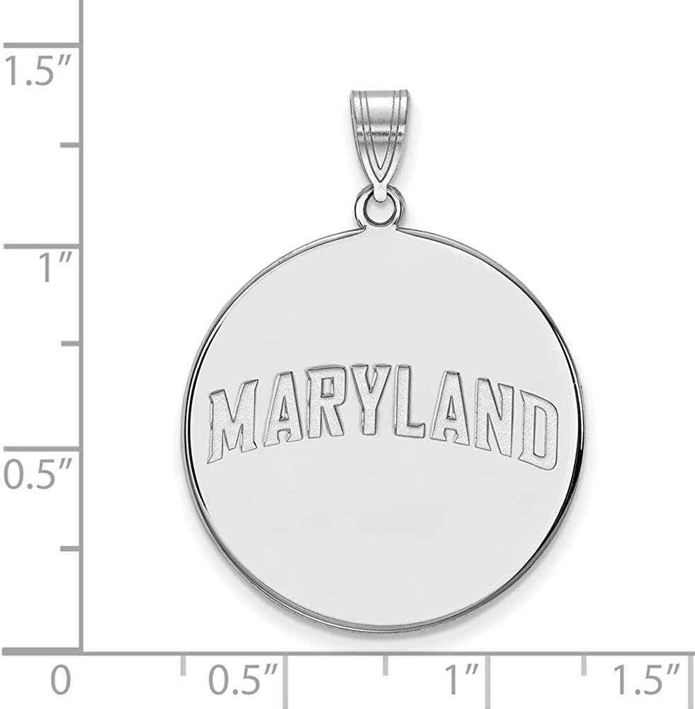 925 Sterling Silver Rhodium-plated Laser-cut Baylor University XL Disc Pendant