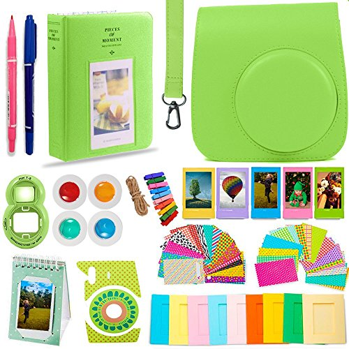 DNO Fujifilm Instax Mini 9 Camera Accessories | Lime Green Protective Case w/Strap + Hanging and Sticker Frames + Color Filters + Selfie Close-Up Lens + Photo Album + More (14 Piece)