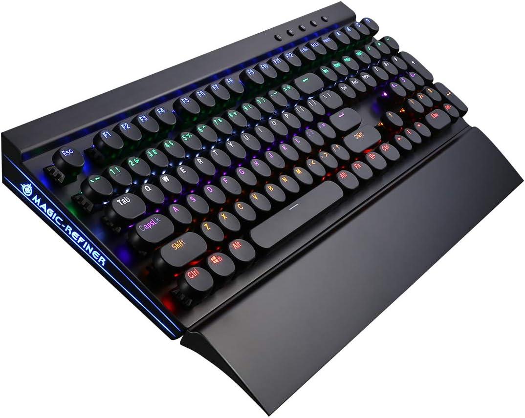 MK7 RGB Mechanical Keyboard Retro Gaming Keyboard-Blue Switches-RGB LED Backlit-108 Key Round Keycaps Keyboard-Detachable Palm Rest Holder (MX Blue Switch-Round Caps)
