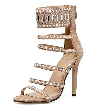 6f185a3490ea93 L-XIE Femmes Sexy Haute Talon Des sandales Stylet Chaussures Piaulement  Doigt de pied Suède