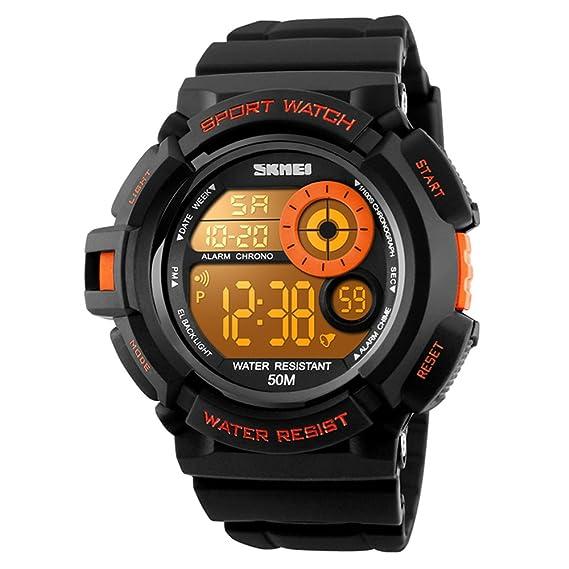 Skmei Boys Sport estilo reloj Digital impermeable LED 7 colores cambiante luz de fondo suave PU banda reloj de pulsera: Amazon.es: Relojes