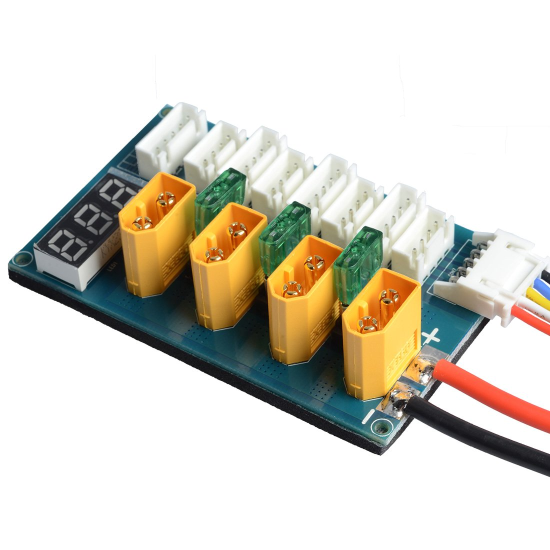 GOTOQOMO XT60 3S 4S Lipo-Batterie Parallel Charging Board XT-60 Balance Ladegerät Ladeplatine Bananenstecker Eingang (mit Spannungsanzeige)